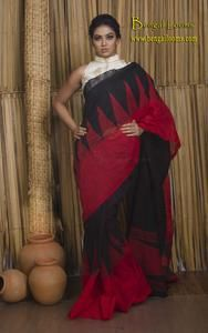 Pure Handloom Khadi Matka Cotton Saree with Temple Border in Black and Red