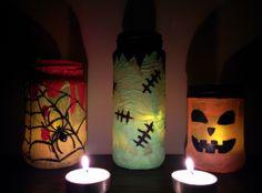 lanterne in barattolo per Halloween Pillar Candles, Halloween, Lantern, Candles, Spooky Halloween