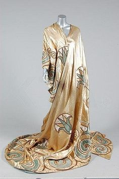 c.1920 silk (?) robe, embroidered, beading
