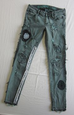 shredded FRANKENSTEIN apocalypse skinny jeans size 5 by AuthenticRaJ, $75.00