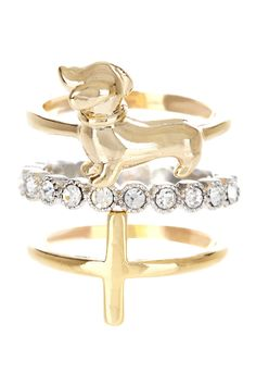 Le Chien Stack Ring Set - cute lil doxie