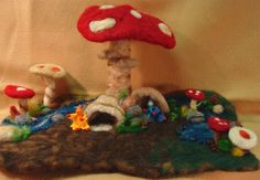 gnome and mushroom felt playscape