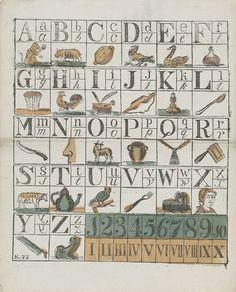 Anonymous   Alfabet en cijfers, Anonymous, c. 1700 - c. 1899   Blad met 5 voorstellingen die elk zijn onderverdeeld in kleinere vakjes. In deze vakjes voorstellingen van cijfers en de letters van het alfabet geïllustreerd met voorwerpen, dieren en figuren waarvan de woorden met de betreffende letter beginnen. Genummerd linksonder: No. 77.