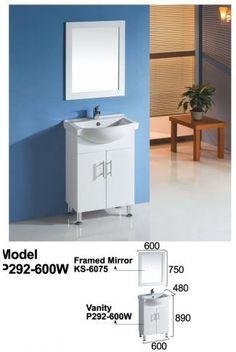 600mm Bathroom Vanity Semi-Recessed Top Solid Door Legs (R600/S)