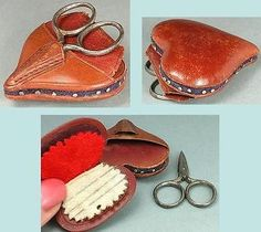 Antique-Leather-Heart-Pin-Cushion-Sewing-Kit-Complete-Original-Circa-1900