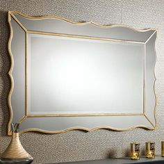 Elegant art deco inspired design in a stunning, on trend, gold leaf finish Width: Height: Delivery Included within UK (up to Wall Mirror, Full Length Mirror Wall, Mirror Photo Frames, Overmantle Mirror, Mirrors Wayfair, Unique Furniture, Discount Designer, French Vintage, Mirrors