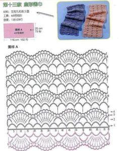 cachecol croche com grafico