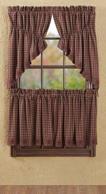 "Primitive Burgundy Applique Star Prairie Swag 63"" Rustic Country Curtain | eBay"