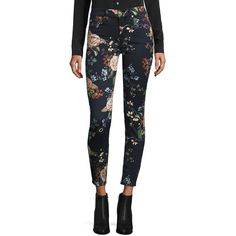 7 For All Mankind Floral-Print Skinny Ankle Jeans ($205) ❤ liked on Polyvore featuring jeans, apparel & accessories, english botanical, zipper jeans, ankle zipper skinny jeans, 7 for all mankind, floral print jeans and floral printed jeans