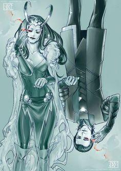 Loki and Lady Loki. I wonder if this would ever happen in the next or later movies, since it happened in the comics. Loki Marvel, Loki Thor, Tom Hiddleston Loki, Loki Laufeyson, Marvel Heroes, Marvel Comics, Avengers, Marvel Girls, Lady Loki Cosplay