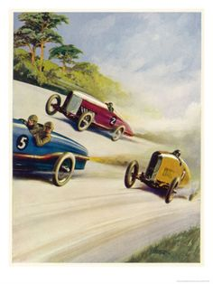 Racing Cars of 1926: Oddly One Car is Carrying Two People the Others Only One by Norman Reeve at Art.com