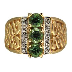 Vintage Designer NH 1.30CT Green Tourmaline 14K Gold .10CT Full Cut Diamond Ring