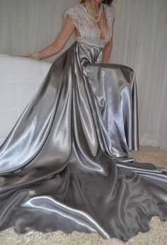 VTG Lingerie Nylon Lace Satin Bra Slip FULL Sweep Negligee LONG Nightgown XXL 2X