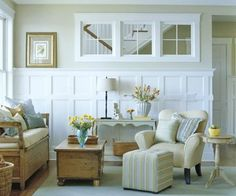 New white wood paneling living room wall treatments ideas Interior Windows, Interior Walls, Home Interior, Interior Design, Bathroom Interior, Interior Decorating, Decorating Ideas, Style At Home, White Wood Paneling