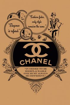 A tribute to Coco Chanel vintage style illustration design. Vintage Labels, Vintage Ads, Vintage Prints, Vintage Images, Poster Vintage, Vintage Style, Chanel Poster, Chanel Print, Cadre Diy