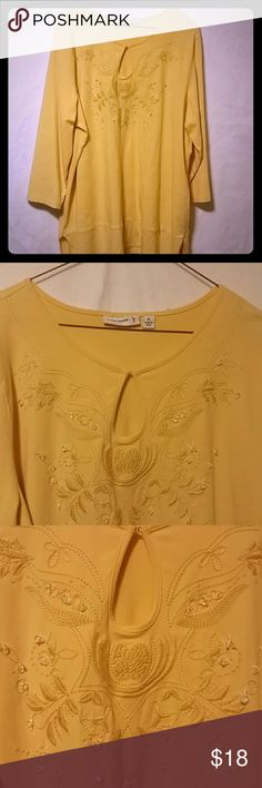"QVC Susan Graver Yellow Keyhole Neckline Top QVC Susan Graver Yellow 3/4 Sleeve Top  Size: XL  Keyhole neckline with hook & eye closure. Embroidery/beading detail on chest. Side slit hem.  Measures: Chest:46"" Length: 29""  Material:  95% Cotton 5% Spandex  Reasonable offers considered.    I take a lot of time and effort with my listings. I've been selling online for 20 years. I take pride in what I do & the items that I offer.   Any questions? Please ask & thank you for looking! Susan Graver…"
