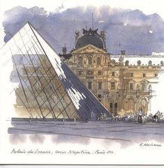 Carte aquarelle double avec enveloppe Fabrice Moireau 15x15cm palais du Louvre