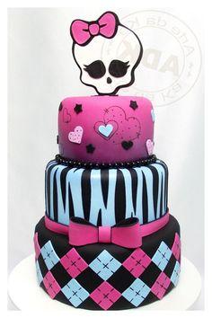 White Zebra Monster High Cake Decorating Idea With White Skull Topper