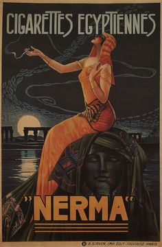 NERMA EGYPTIENNES Vintage Tobacco Art Deco Advertising CANVAS PRINT 24x36 in. #ArtDeco