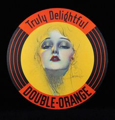 Double Orange Soda Advertising Sign by Rolf Armstrong 1930s