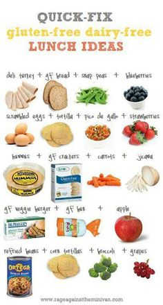 dairy free ideas!! The ideas are also gluten free, but I will be eating the gluten since I don't have Celiacs