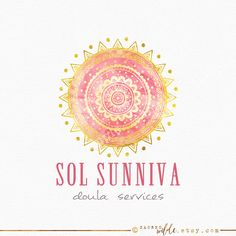 Sun Mandala Logo Design  Yellow and Pink  Pink and by SacredWilde