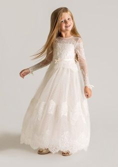 High Neck Scoop Long Sleeve Lace Flower Girl Dresses for Weddings 2015 Bow White Holy First Communion Dresses for Girls YY1102-in Flower Girl Dresses from Weddings & Events on Aliexpress.com   Alibaba Group