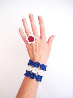Crochet Flowers Bracelet Snow White Shimming by CrochetPocket, $21.00