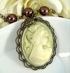 Vintage style large green cameo necklace, pearls, long, victorian, Mother's Day, romantic jewelry
