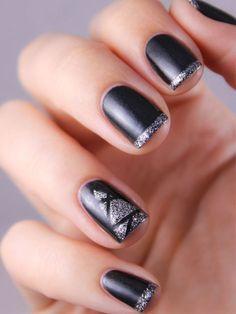 Les ongles black & glitter argent