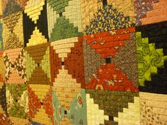 close-up of a colorful courthouse steps quilt