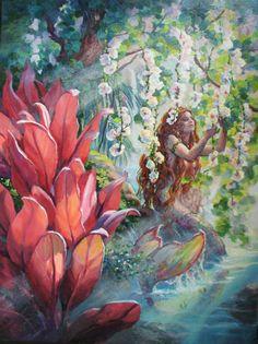mermaid with flowers Siren Mermaid, Mermaid Lagoon, Mermaid Tale, Mermaid Wall Decor, Mermaid Artwork, Fantasy Kunst, Fantasy Art, Mythical Creatures, Sea Creatures