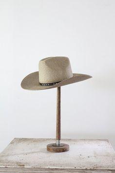 ff76c91857a19 1970s Vintage Cowboy Hat Black Leather Belt