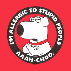 I'm Allergic To Stupid People, people that don't like dogs , they are stupid.