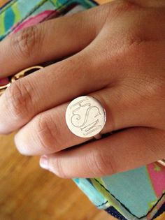 Engraved monogrammed ring