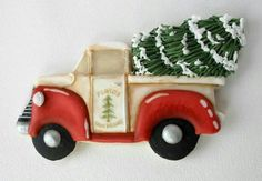 beautiful christmas cookies Weihnachtspltzchen Vintage truck with a Christmas Tree by Arty McGoo. Christmas Tree Cookies, Iced Cookies, Christmas Sweets, Holiday Cookies, Christmas Baking, Fancy Cookies, Cute Cookies, Biscuits, Christmas Tree Painting