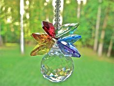 Rainbow Crystal Pineapple Suncatcher by HeartstringsByMorgan