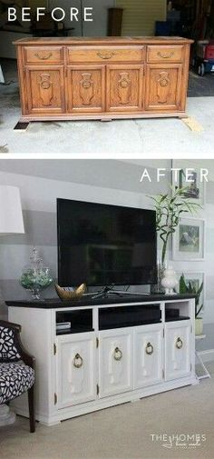♡ entertainment center made out of an old dresser. TV stand diy follow for more restoration ideas.