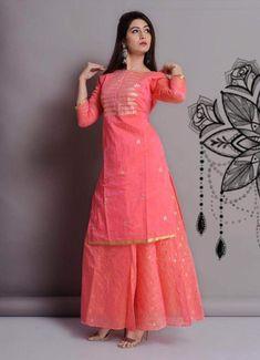 Chanderi Long Top and Skirt – FashionVibes Designer Party Wear Dresses, Kurti Designs Party Wear, Indian Designer Outfits, Indian Outfits, Dress Designs, Chudidhar Designs, Blouse Designs, Shadi Dresses, Pakistani Dresses Casual