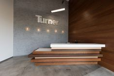 Turner Construction: San Diego / Custom Reception Desk / Industrial Style / Concrete / Wood / Minimalist