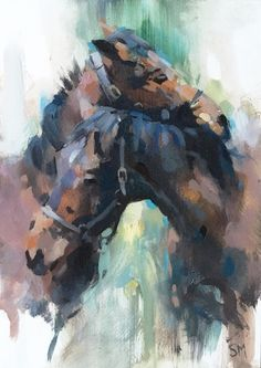 Abstract Portrait Painting, Tiger Painting, Watercolor Painting Techniques, Watercolor Horse, Horse Wall Art, Horse Drawings, Abstract Animals, Equine Art, Animal Paintings