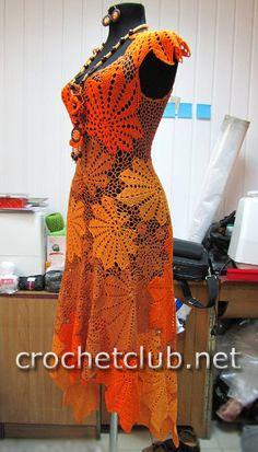 платье крючком золотой листопад 1