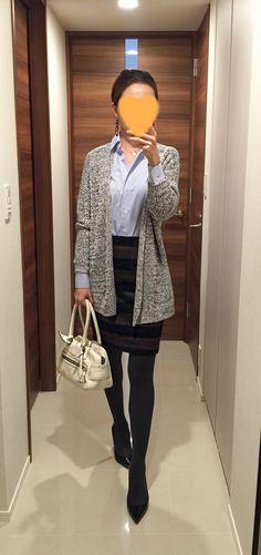 Grey cardigan: Theory, Blue shirt: Maker's Shirt Kamakura, Brown striped skirt: Nolley's, White bag: J&M DAVIDSON, Pumps: Christian Louboutin