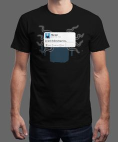 """""""Slender is now following you"""" is today's £8/€10/$12 tee for 24 hours only on www.Qwertee.com Pin this for a chance to win a FREE TEE this weekend. Follow us on pinterset.com/qwertee for a second! Thanks:)"""
