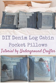 Grab some jeans headed for the scrap pile and make a plush pocket pillow with Cabin in the Corner and Courthouse Steps, variations on the log cabin block. Sewing Patterns Free, Free Sewing, Free Pattern, Quilt Patterns, Quilting Ideas, Denim Crafts, Pillow Tutorial, Leftover Fabric, Recycled Denim