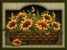 Amazon.com: Sunflower Basket by Angela Anderson - Kitchen Backsplash / Bathroom wall Tile Mural: Home Improvement