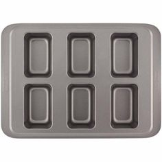 Cake Boss Basics Nonstick Bakeware 6-Cup Mini Loaf Pan, Gray
