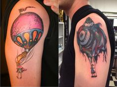 "I saw someone post a Circa Survive tattoo by Esao Andrews and I wanted to show off my own. On the left is Esao Andrews female version of ""On Letting Go."" Which is on the cover of Circa Survive. The one of the left is ""The Intrepid Seed."""
