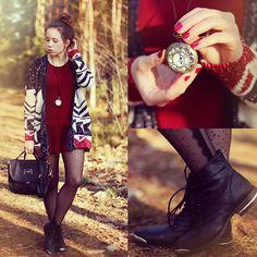 Sheinside Dress, Sheinside Cardigan, Cropp Shoes, Romwe Bag - Last Breath Of Autumn // 300 look - Wioletta Mary Kate