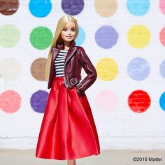 Style tip: pair a full skirt with a t-shirt and leather jacket for a fun daytime look!  #barbie #barbiestyle